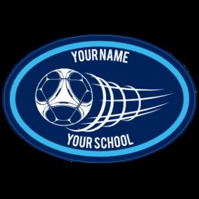 Custom Flying Soccer Ball Oval Sticker