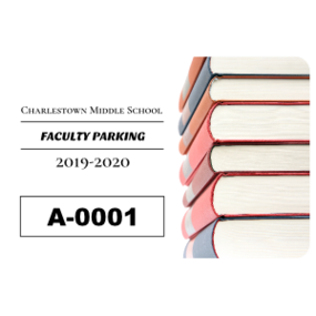 Book Stack Rectangle School Parking Permit Sticker