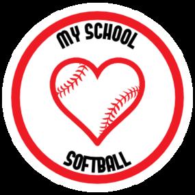 Custom Love Softball Circle Sticker