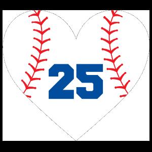 Custom Heart Baseball Sticker with Number