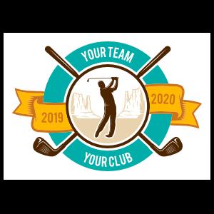 Custom Golf Club Player and Mountains Circle Sticker