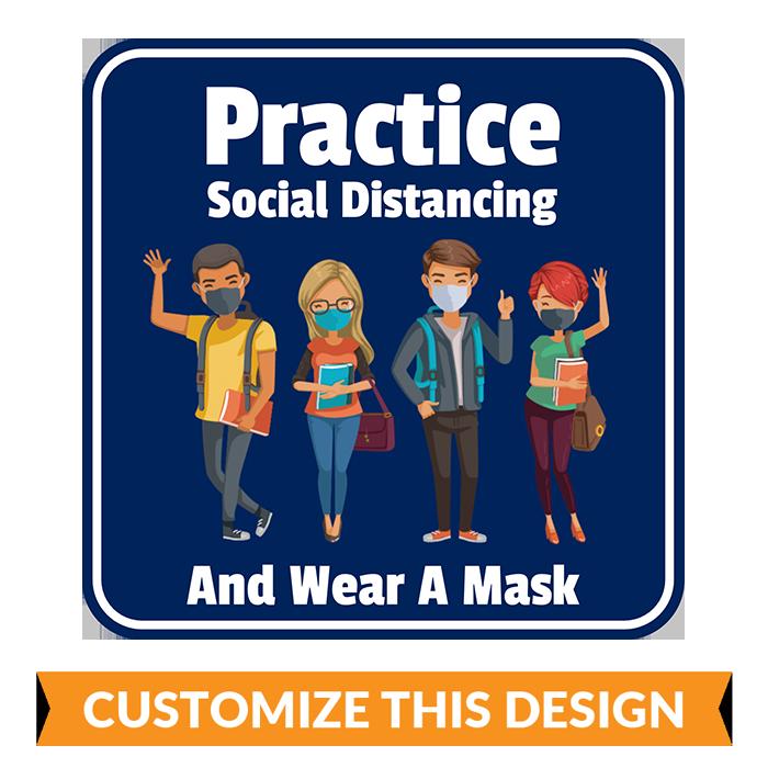 High School Social Distancing Floor Stickers