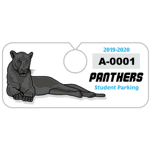 Large Mascot School Horizontal Hang Tag Parking Permit