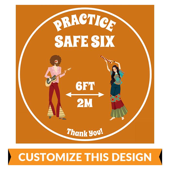 "Retro ""Practice Safe Six"" Customizable Floor Sticker"