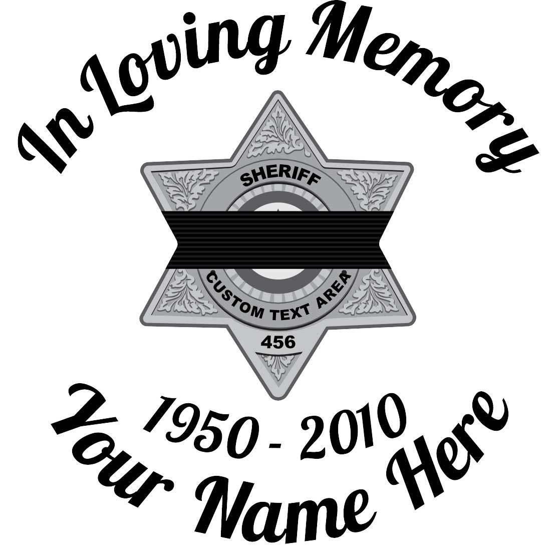 Silver Sheriff Badge with Black Band In Loving Memory