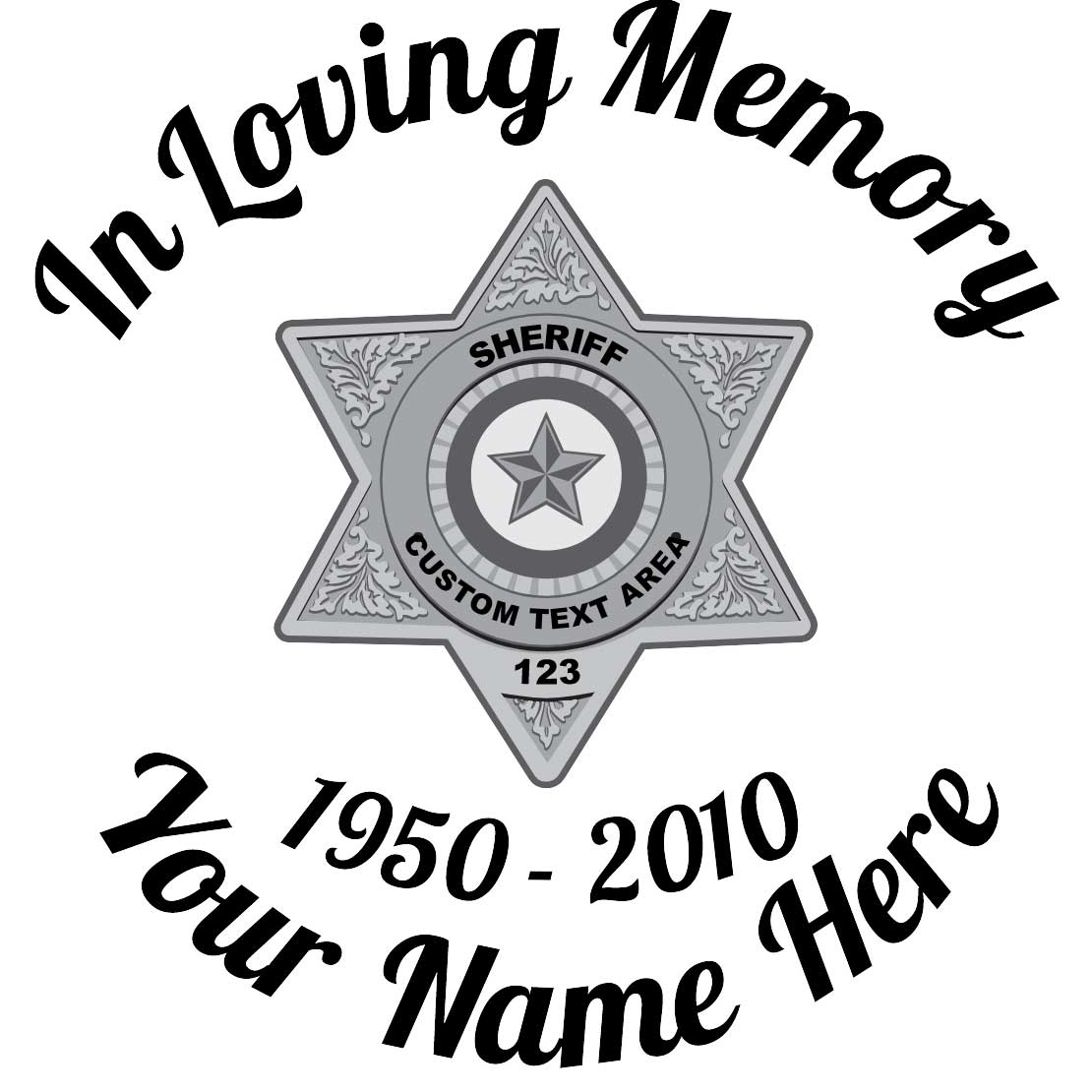 In Loving Memory Sticker Silver Sheriff Badge