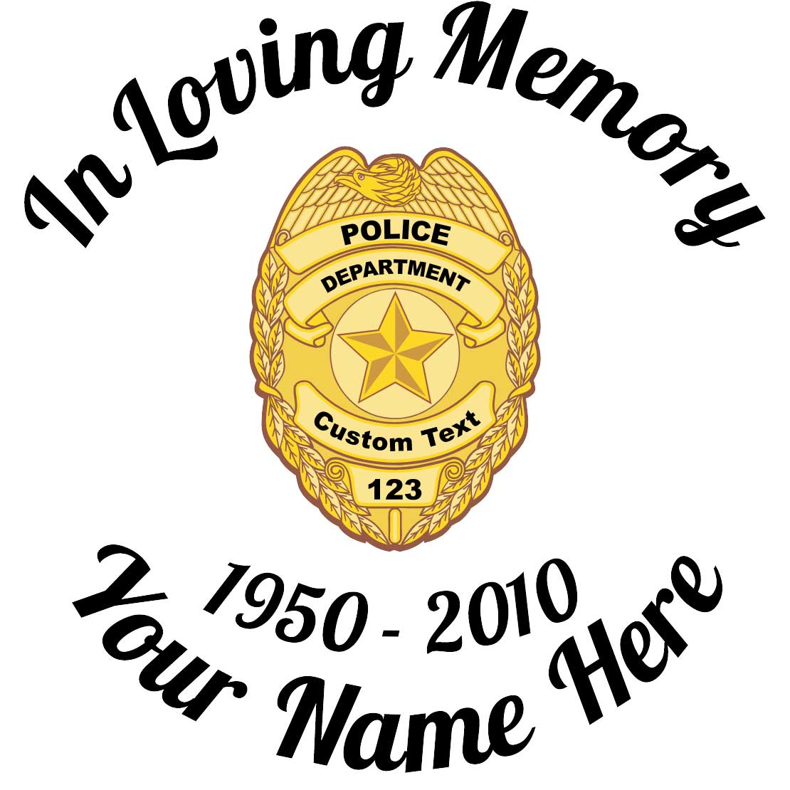 In Loving Memory Police Badge Sticker