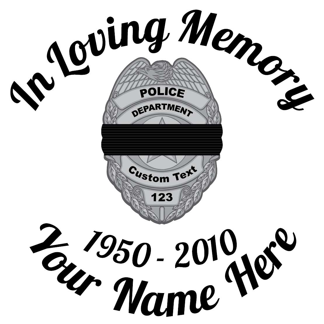In Loving Memory Silver Police Badge with Black Band Sticker
