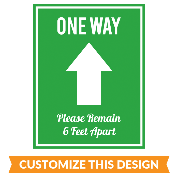 "Customizable ""One Way - Enter"" Floor Stickers"