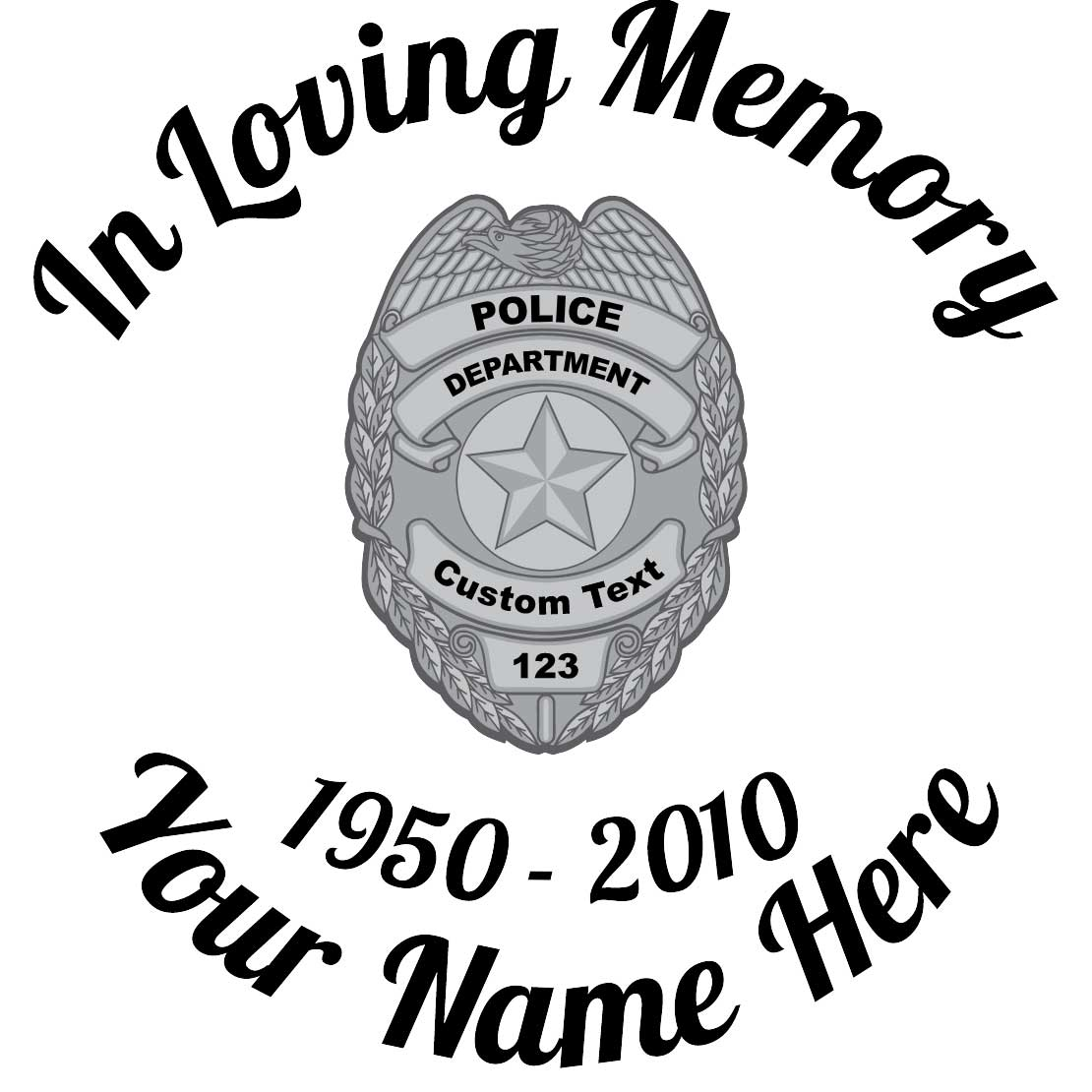 In Loving Memory Silver Police Badge Sticker