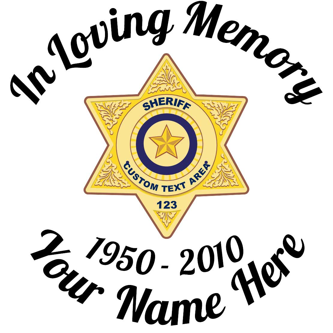 In Loving Memory Sticker Sheriff Badge