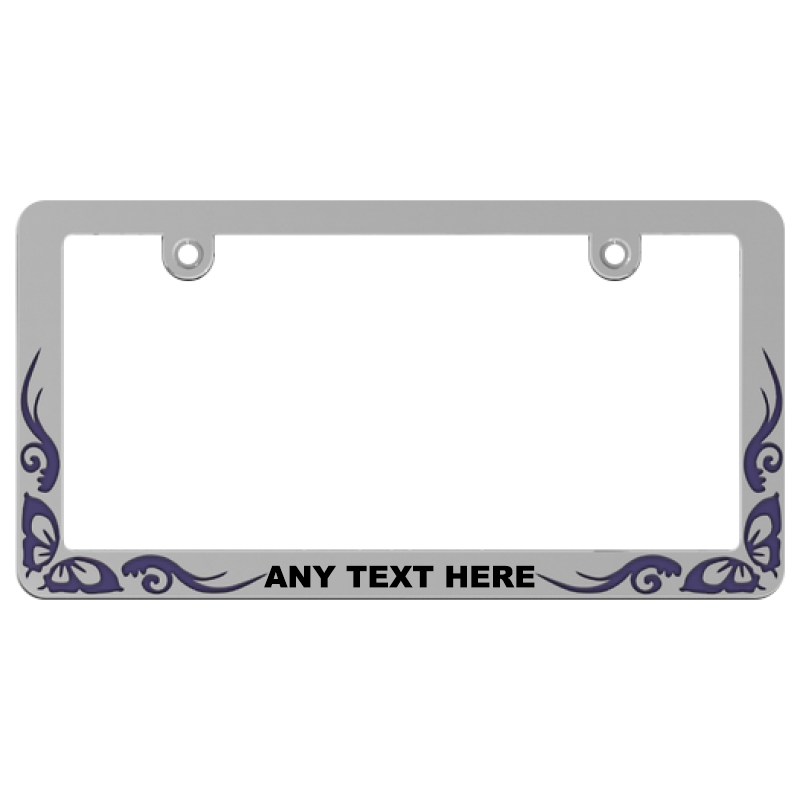 Custom Purple Butterfly Tattoo License Plate Frame