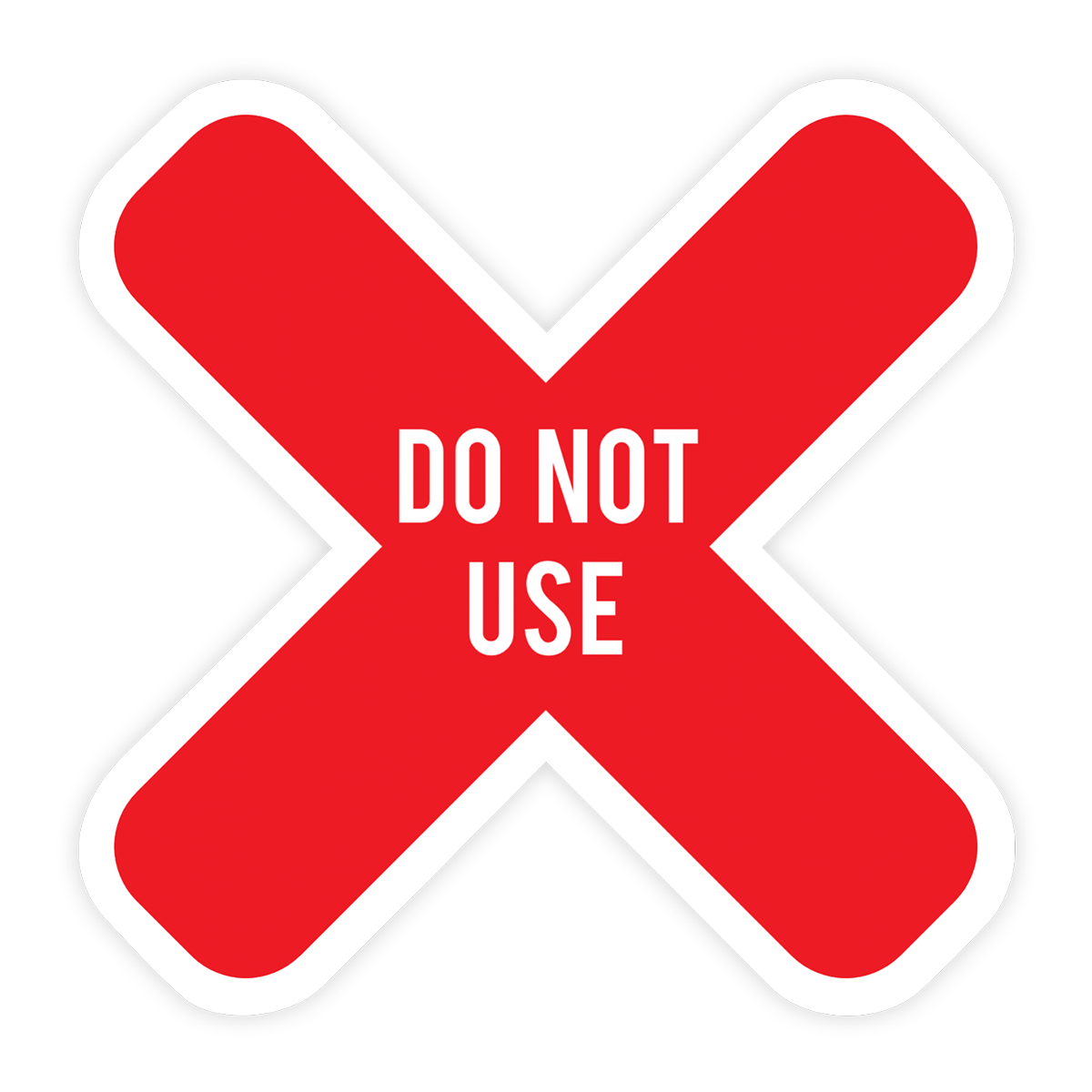 """Customizable """"Do Not Use"""" X Table Sticker"""