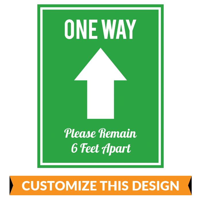 "Customizable ""One Way - Enter"" Floor Stickers"