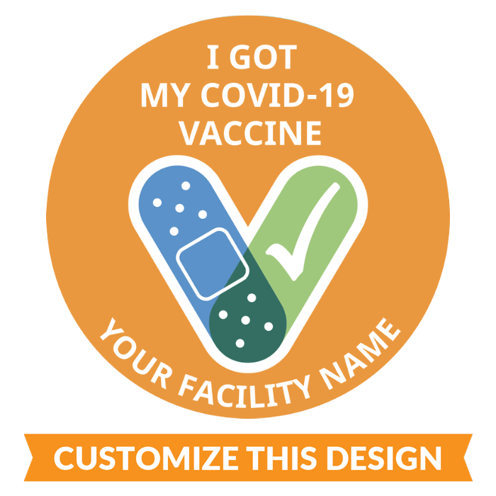 Customizable Circle CDC Covid-19 Vaccine Sticker