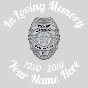 In Loving Memory Silver Police Badge Sticker