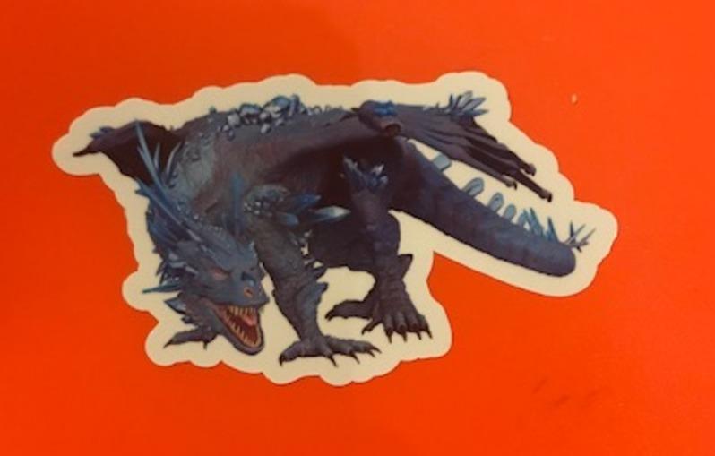 Bev's photograph of their Blue Crystal Dragon Sticker