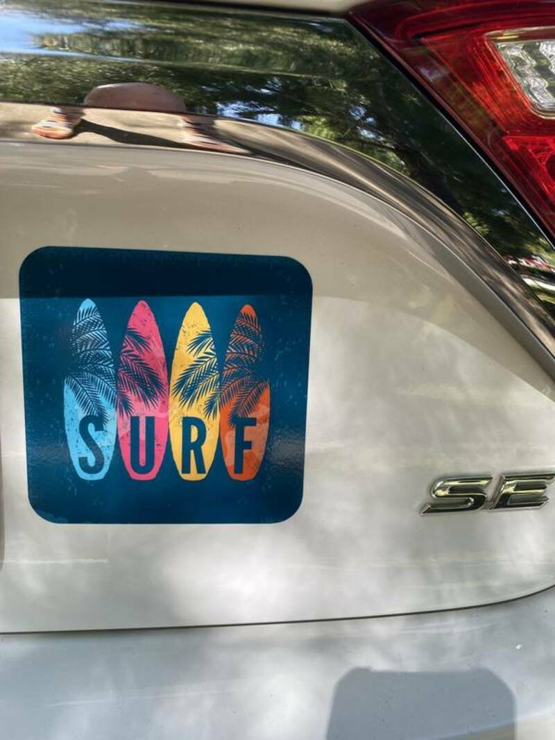 Claude's photograph of their Surf Boards & Palm Leaves Sticker